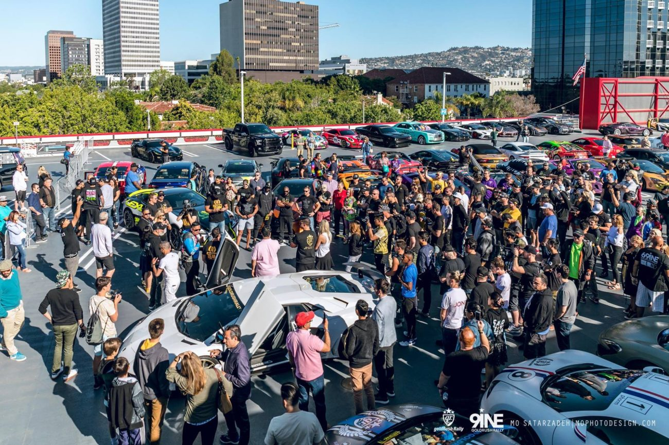 The starting Grid on GoldRush Rally 9ine at the Petersen Auto Museum