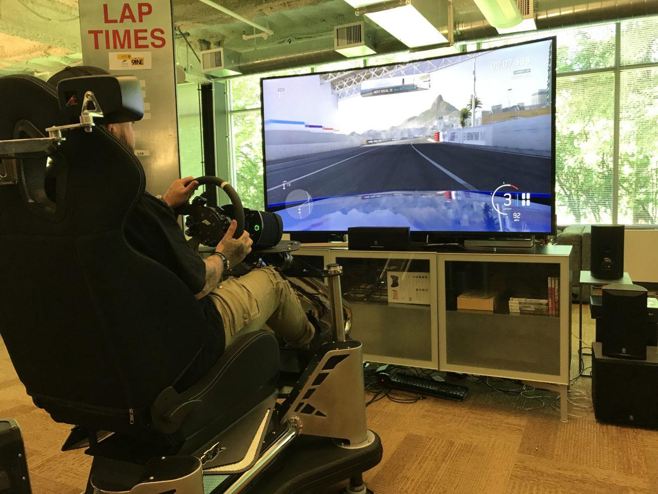 Jonny Collins on the Forza Motorsport simulator