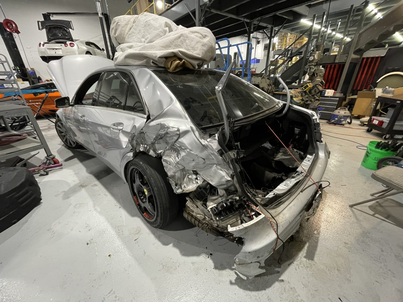The damage to the Cannonball Record E63 AMG