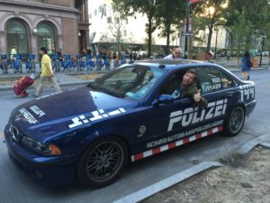 Ed Bolian Arne's Antics Bluesmobile C2C Express Winner 2016 Classic Car Cannonball Run Record Polizei144 BMW M5