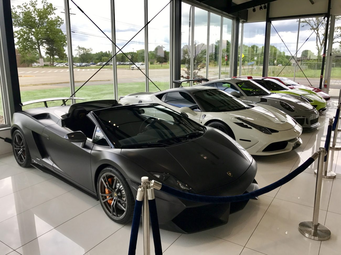 Lamborghini Gallardo Performanté Ferrari 458 Speciale Porsche GT3RS Porsche 918 Chicago Motor Cars Jewelry Box Iron Gate Motor Plaza