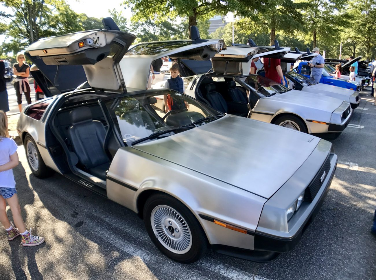 Where else besides Caffeine & Octane can you see 3 DeLorean DMC-12's?
