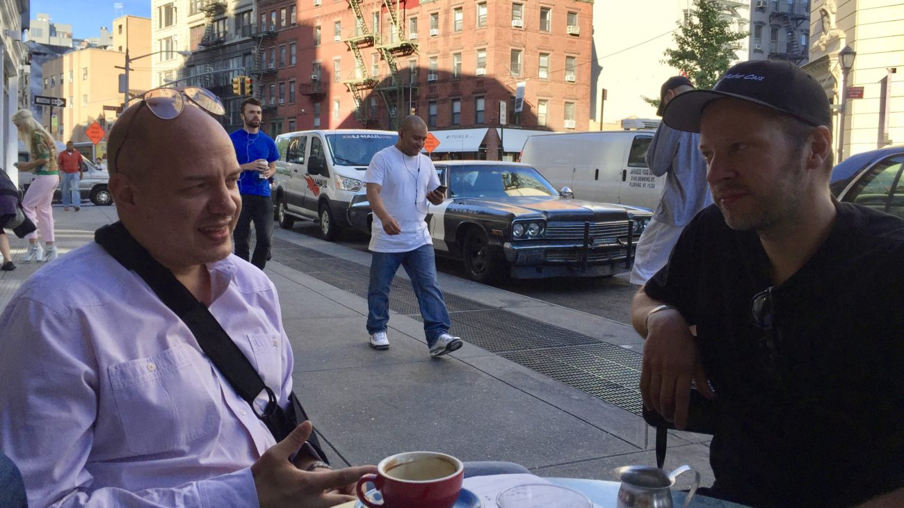 Arne's Antics Coffee in Manhattan with Cannonball Legend Alex Roy before the 2016 C2C Express in the Bluesmobile