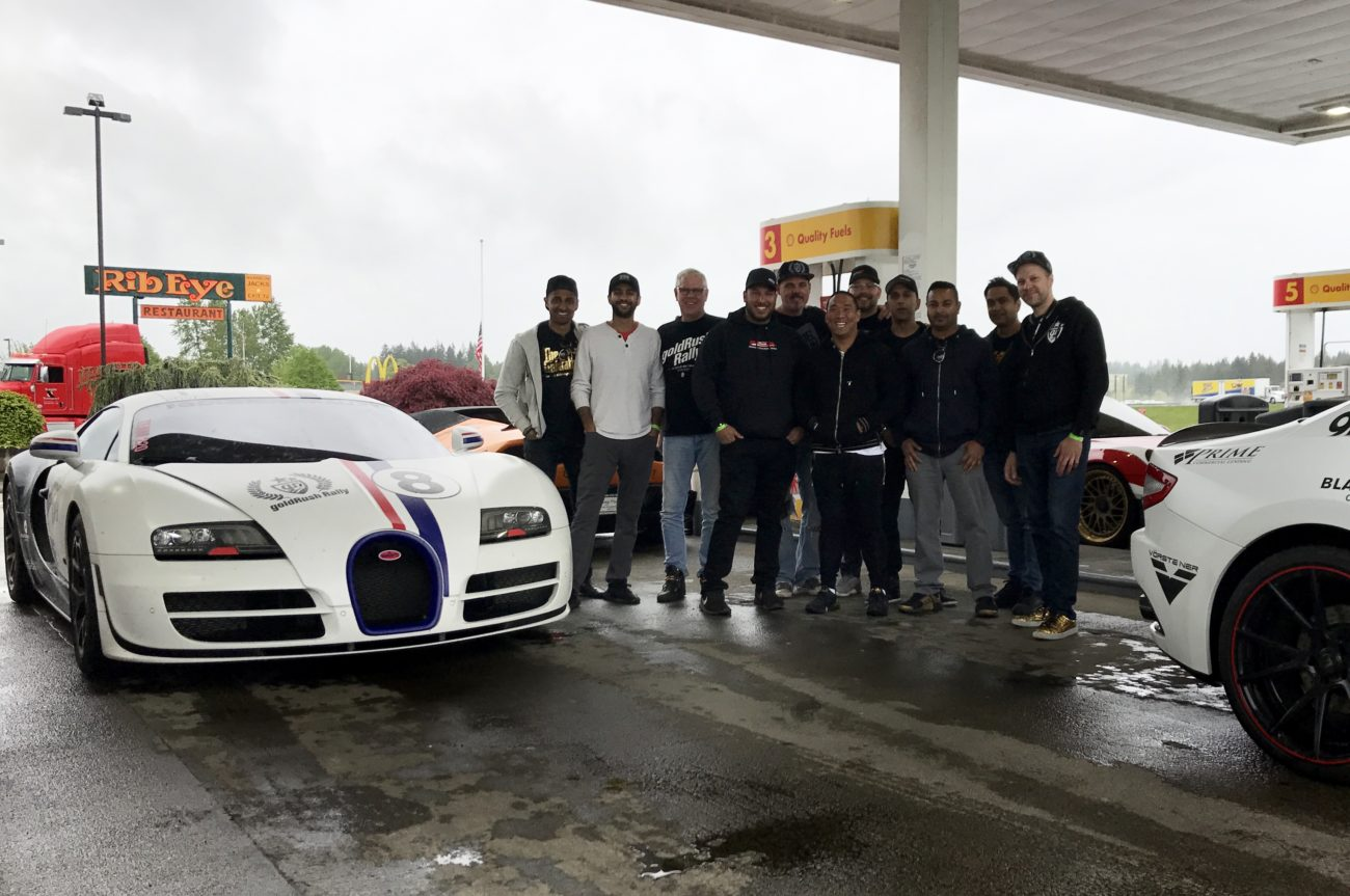 Last gas stop of the first leg of GoldRush Rally 9ine with Ben Chen's Love Bug Panda Bugatti Veyron Super Sport